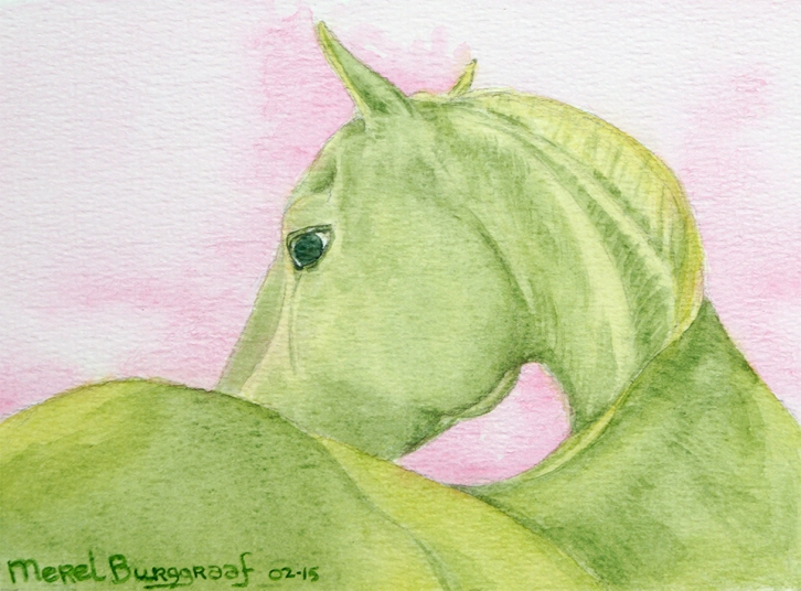The Green Horse (in private collection) 12 x 18 cm