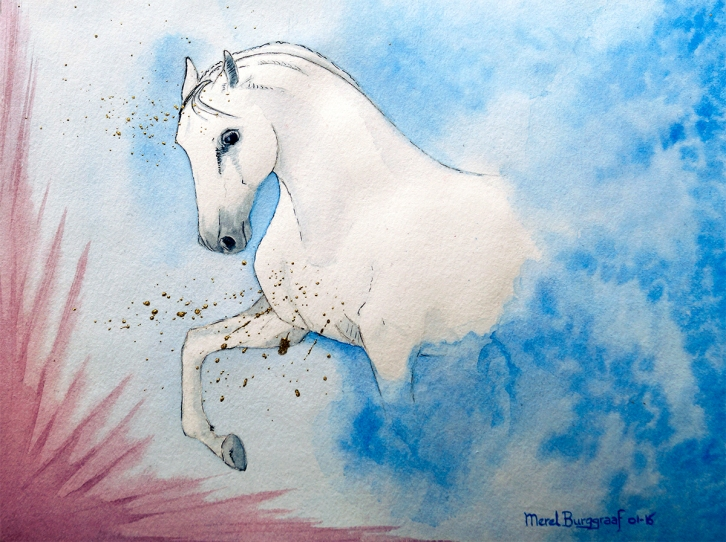 Out of the Blue Into the Unknown Courage Merel Burggraaf Art equine horse paard painting drawing water colour color