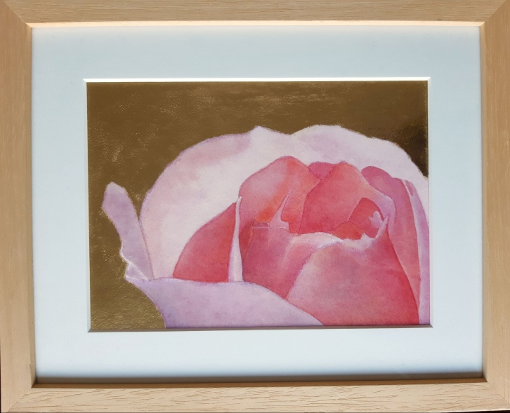 1 Merel Burggraaf Art Bonica Rose water colour color gold leaf pure aquarel roos bladgoud