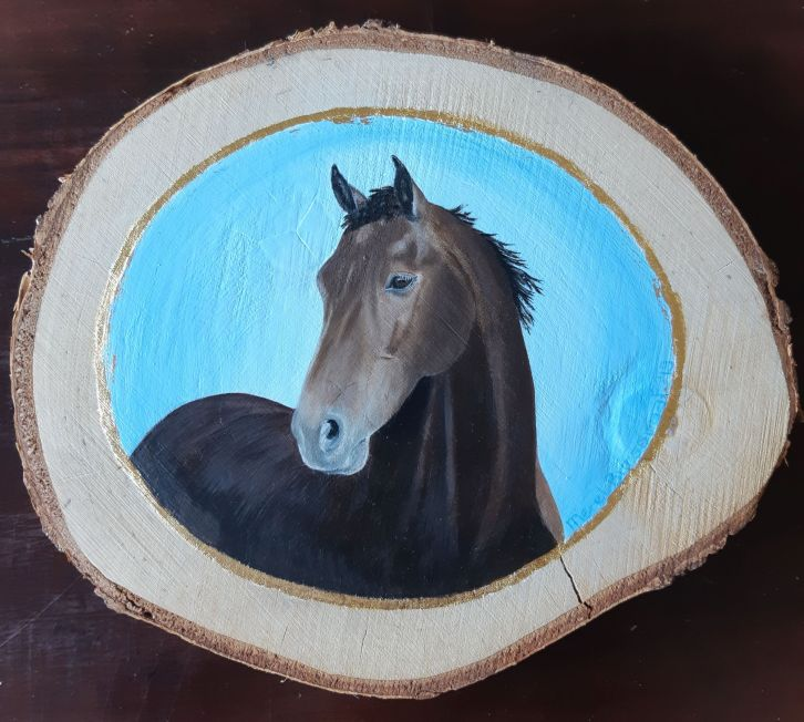 Hippach Oil Painting on Birch Wood Merel Burggraaf Art kunst equine horse portait paardenportret